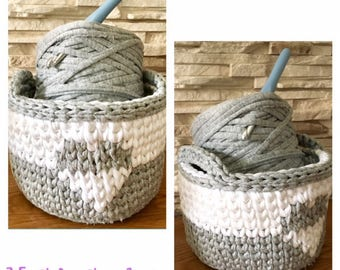 Grey and White Storage Basket Crochet with Heart