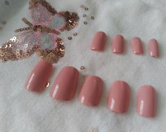 Nude nails, press on nails, square nails, shellac gel, false nails, hand painted nails, stronger reusable nails, Nail Glue
