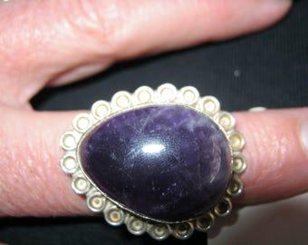 Amethyst ring size R 925 silver