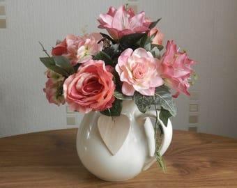 Pink Rose Artificial flower arrangement/display Brand New in Decorative White Jug