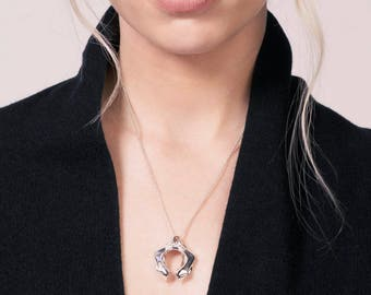 Sculptural Sterling Silver Nyla Pendant By Walker Vail