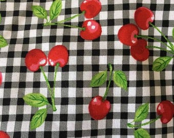 Robert Kaufman Fabric Fruit Basket Collection Cherries on Black and White Gingham BY THE YARD
