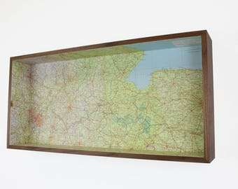 Midlands and East Anglia map box frame - framed map wall decor wall art gift shelf keys holder
