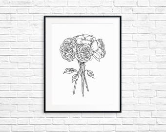 Roses Printable Art / Instant Download / Wall Art Print / Home Decor / Office Decor / Floral Sketch / Flower Art /