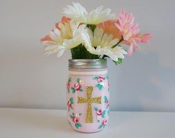Mason Jar with painted flowers, Christening, Baptism, Communion, Confirmation garden decor, tea party centerpiece, cath kidston style floral