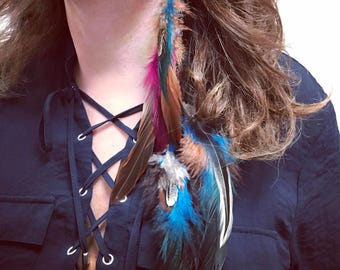 Loop single Rooster feathers