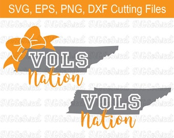 Vols Nation, Tennessee Volunteers, TN Vols Nation Bow, SVG, PNG, Eps, Dxf, Silhouette Cutting Files
