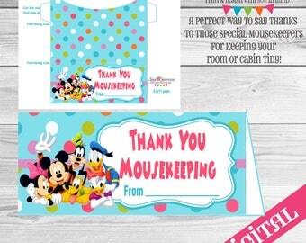 DIGITAL Mousekeeping envelope, Disney Gratuity envelope, Disney tip envelope