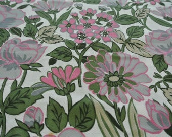 """retro Vintage Mid Century Floral Green and Pink Dress Fabric 197"""" by 46"""""""