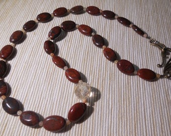 Red Jasper, citrine and Choker necklace-Eliolite