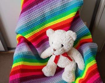 Handmade rainbow crochet baby blanket
