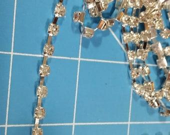 Silver Cupped Rhinestone Chain