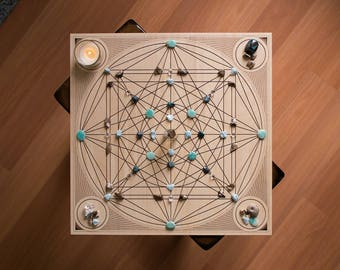 "14"" Custom Path - Large Crystal Grid - Vesica Piscis / Garden of Eden - Square Birch Wood Altar Board - Sacred Geometry"