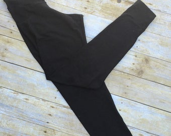 Basic black leggings - womens leggings - black leggings - yoga leggings