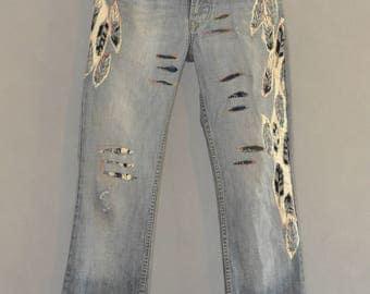 Reworked Vintage  brand jeans/denim redone boyfriend patch Embellished Jeans, Size 30 , Embroidered Jeans, woman vintage 501 levis jeans