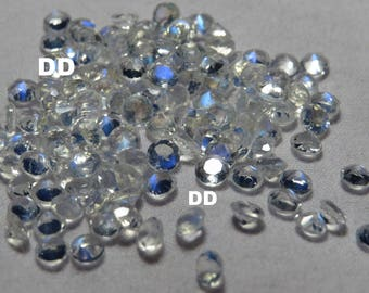 Top Quality moonstone faceted round faceted rainbow moonstone round blue flash faceted moonstone loose gemstones-Size-3mm