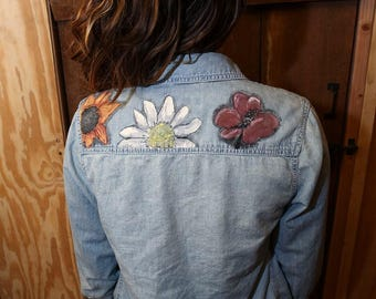 Painted Jean Jacket with Flowers