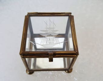 Vintage Glass and Brass Display Box with Etched Ship and Mirrored Bottom