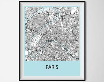 Paris Map Poster Print - Black and White