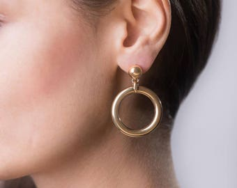 Lovely chunky 24 karat gold plated Audrey retro hoop earrings with stud ear fitting for women. Gift for her