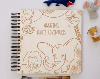 Personalized Baby Photo Album, Toddlers Photo Book, Baby Memories Journal, Baby First Year Diary, Wooden, Wild Animals Safari Elephant, Gift