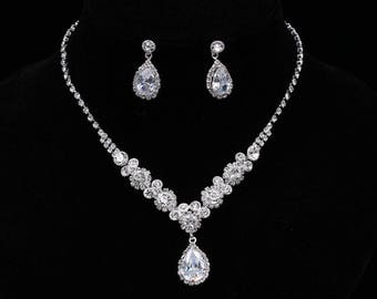 Crystal bridal necklace and earrings