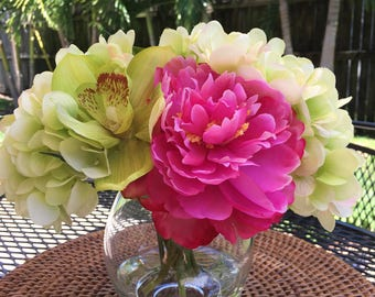 Fine Silk  Floral Arrangement Faux Pink Peonies, Green Hydrangeas, Green Cymbidium Orchids with Illusion Water by Bouquet home