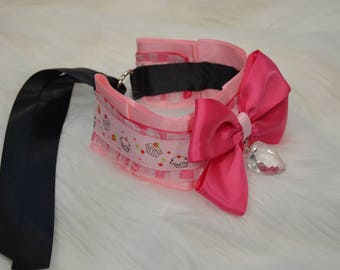 BDSM/DDLG/Kitten Play Collar Pink with Cupcakes and Heart Shaped Crystal
