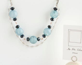 Blue Clear Chain necklace