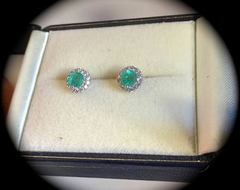 Natural Emerald Premium Quality Sterling Silver Earrings - 'Certified' Lovely Colour!