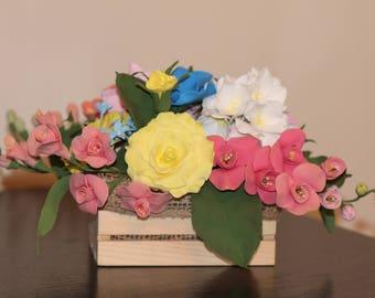 Clay Flower Arrangement. Perfect Home Decor Gift