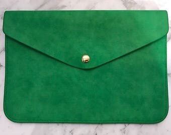 Personalised Monogrammed Leather Envelope Clutch in Green with detachable wrist/shoulder strap