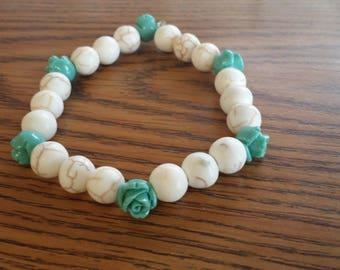 White Howlite and Teal Rose bracelet
