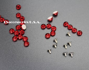 5.7mm Rivet Cone Bullet Spike/Wholesale 100/50/25/10sets/Ruby Red/Bullet Spikes Studs/Clothing/Hat/Millinery/Shoes/Bag/Belt/Leathercraft/#37