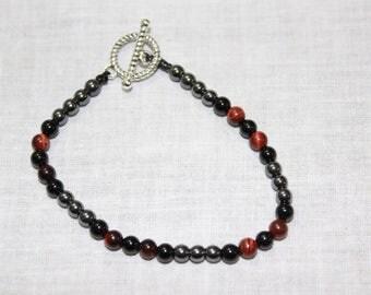 Handmade Bracelet Red Tiger Eye, Onyx, Hemaitite