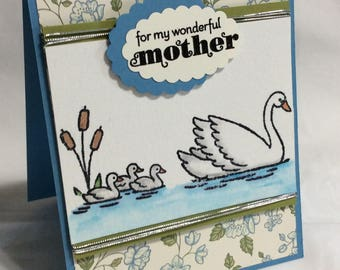 Handmade Mother's Day Card w/ Baby Swans