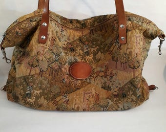 Authentic 80's Rula Tapestry Shoulder Bag Made in Belgium Sac Bandouliere Tapisserie
