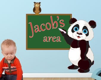 Panda bear, Wall decal, Personalized Name for Baby boy nursery room