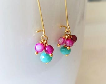 Mint color earrings with pink agate