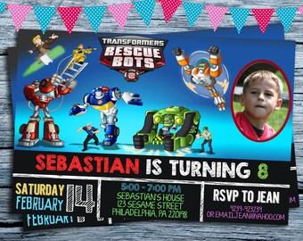 Transformers rescue bots boys chalkboard personalized birthday invitation Birthday Invitation, Rescue Bots Invitation, Robots Gift