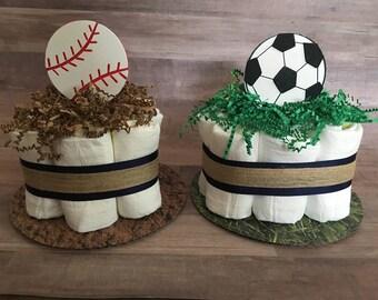 Sports Mini Diaper Cakes / Basketball/Football/Baseball/Soccer / Diaper Cake Centerpieces