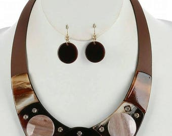 Beautiful Lucite Faux Brown Leather Set