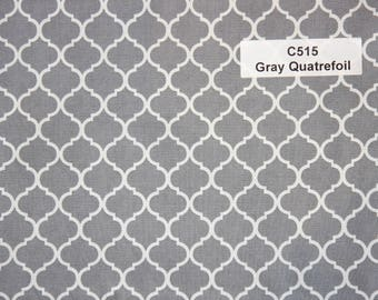 Gray Quatrefoil Cotton Fabric  SHIPS FAST Quatrefoil Cotton fabric for quilting sewing Fabric Store low price  free shipping available
