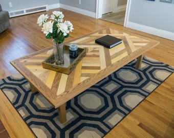 Chevron Wood Table Built in Reclaimed Style, Modern Rustic Aesthetic