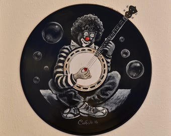 "Vinyl Record Art painting ""clown"""
