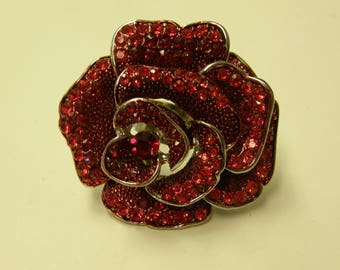 Large Rose Crystals Ring - Size 9