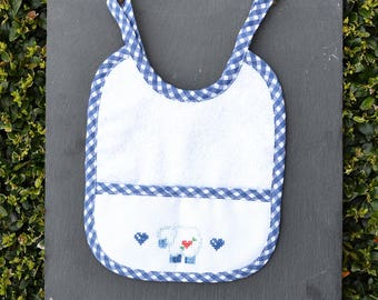 Cross stitch blue Embroidered bib, baby boy bib, sheep, baby shower gift, baby birthday gift
