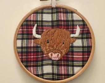 Scottish Highland Cow tartan embroidery