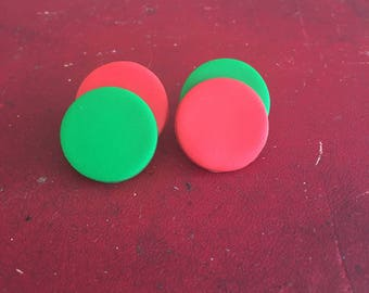 Traffic Lights/Red and Green/Polymer Clay/Stud Earrings