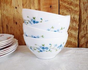 Vintage Arcopal Veronica pattern, blue forget-me-nots